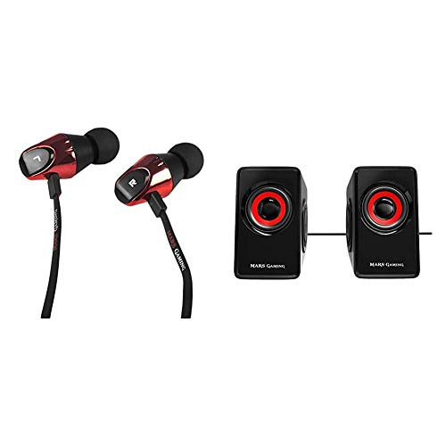 MarsGaming MIH2 Auriculares, Mic, Jack 3.5, PC/ PS4 /Xbox One/Smartphone, In-Ear, Negro/Rojo + Mars Gaming MS1, Altavoces 10W, subwoofer, Jack 3.5mm, Pc/Mac/Smartphone/Tablet