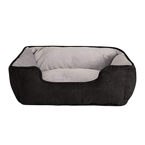 dibea 2-in-1 Hundebett Hundekissen Hundekörbchen Hundesofa Größe S 60x50 cm schwarz/grau