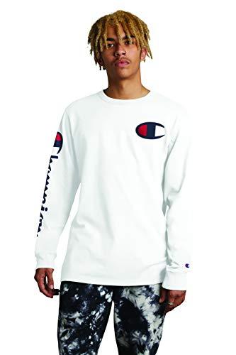 Champion LIFE Men's Heritage Long Sleeve T-Shirt, White W/Big C Graphic, X Small