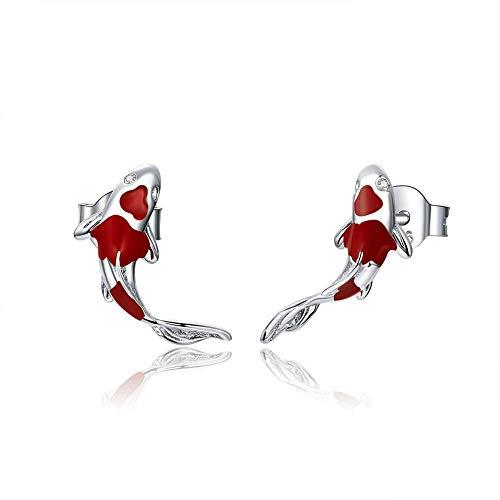 PRIVATE BOY Fish Red Enamel Stud Earrings for Women 925 Sterling Silver Spring Koi Ear Studs Festival Silver Fashion Jewelry