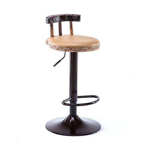 Taburetes de bar Taburetes para desayuno, Taburetes de bar, estilo vintage, rústico, de madera, de cuero redondo, asiento de cuero ajustable, giratorio de 83 a 60 cm