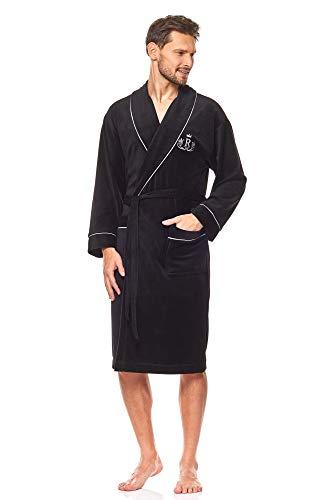 L&L - 9106 Peignoir de Luxe en Tissu éponge pour Hommes. Extrêmement Léger. Robe de Chambre Pleine Longueur. (Black, Medium)