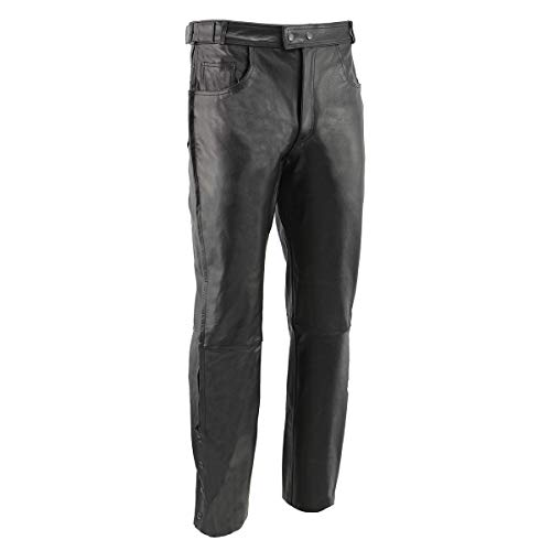 Men's XS1000 Classic Black Leather Motorcycle Over Pants with Deep Jean Style Pockets - 38