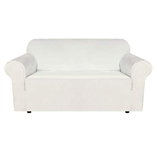 BellaHills Echte Samt Couchbezug für Sofa Schonbezüge Samt Plüsch Möbelbezug Ultra Stretch Sofabezüge Möbelschutz mit elastischem Boden (2-Sitzer, Elfenbein)