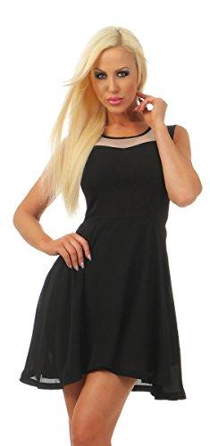 Fashion4Young 4779 dames mini-jurk chiffon jurk party getailleerd zomerjurk cocktailjurk