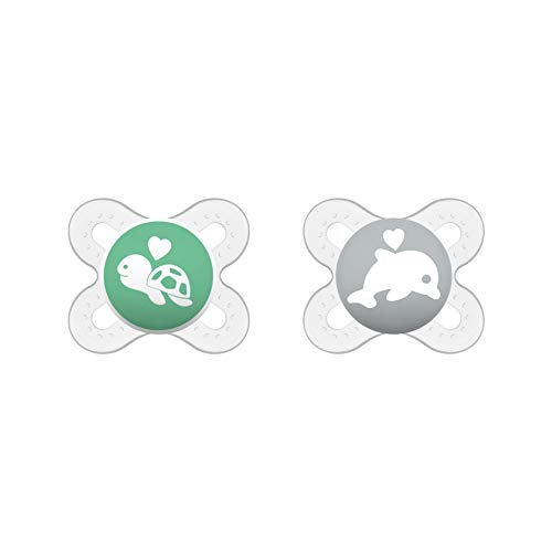 MAM Original Start Schnuller im 2er-Set, speziell für Früh- und Neugeborene, stillfreundlicher Silikonschnuller aus MAM SkinSoft Silikon mit Schnullerbox, 0-2 Monate, Delphin/Schildkröte