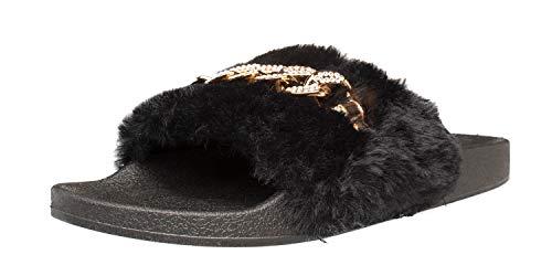 Fitters Footwear That Fits Damen Slide Paula Synthetik Slides mit Plüschfell und Kette Übergröße (44 EU, schwarz)