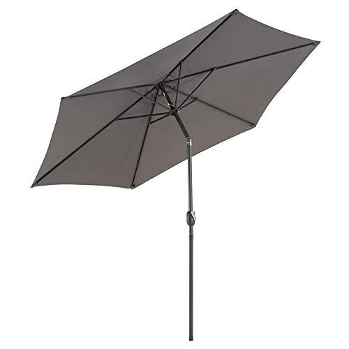 Sonnenschirm Ø 290cm Stahl Gestell UV Schutz Gartenschirm Marktschirm mit Kurbel und neigbar Schirmstoff anthrazit Wasser- und schmutzabweisend Höhe 230 cm
