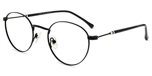 Firmoo Blaulicht Brille ohne Sehstärke Entspiegelt Damen Herren, Runde Metall Anti Blaulicht Computer Brille gegen Kopfschmerzen, Blaulichtfilter UV Schutzbrille Schwarz