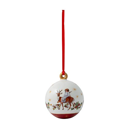 Villeroy & Boch Annual - Christmas Edition Kugel 2020, dekorative Weihnachtskugel als Baumschmuck, Premium Porzellan, bunt, 6.5 x 6.5 x 8 cm