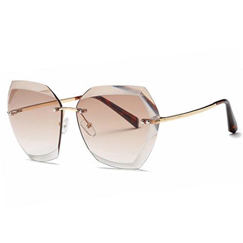kimorn Sonnenbrillen für Frauen Übergroße randlose Diamant-Schneidlinse Klassisch Eyewear AE0534 (Gold&Braun, 65)
