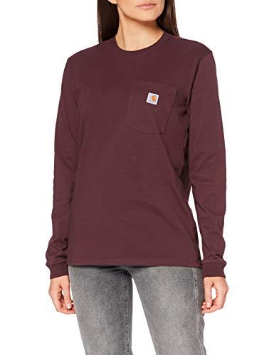 Carhartt Womens Workwear Pocket Long-Sleeve T-Shirts, Deep Wine, S