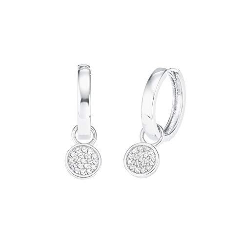 amor Creole für Damen mit Anhänger, glänzendes Silber 925, Zirkonia