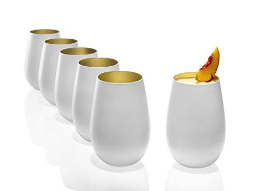 Stölzle Lausitz Becher 465 ml, 6er Set, Wassergläser in weiß (matt) und Gold, spülmaschinenfest, bleifreies Kristallglas, hochwertige Qualität