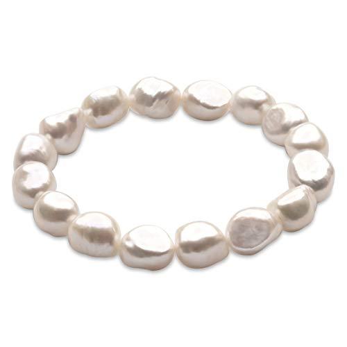 Pulsera de Mujer de Perlas Cultivadas de Agua Dulce Blancas Barrocas de 10-11 mm Secret & You - 16 perlas en total - Pulsera elástica de 18 cm.