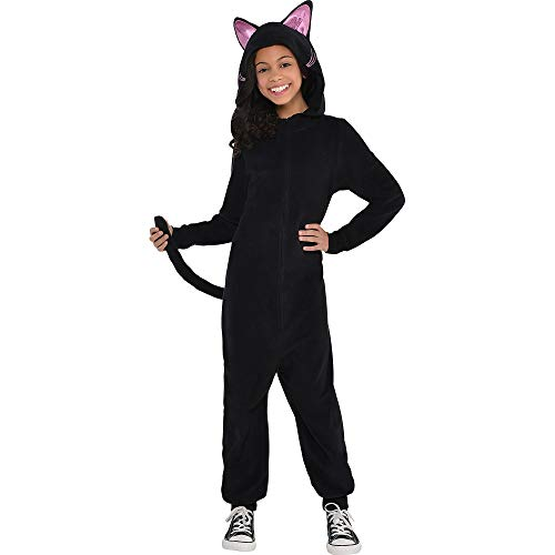amscan 848742 Girls Zipster Black Cat One Piece Costume, Medium Size (8-10 Years Old)