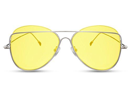 Cheapass Piloten-Sonnenbrille Gelb Silber-n Fliegerbrille Designer-Brille Festival-Accessoire UV400 Metall Frauen Damen