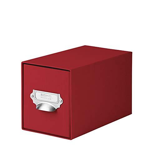 Rössler 1327452360 - S.O.H.O. Aufbewahrungs CD-Schubladenbox, mit beschriftbarem Einsteckschild und Griff, rot