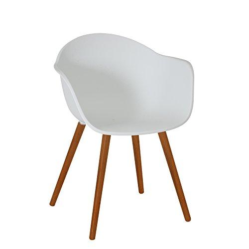 greemotion Gartenstuhl Derby aus Kunststoff in Weiß-Stuhl mit Holzbeinen für Garten, Balkon & Terrasse-Gartensessel mit Armlehne-Lounge Sessel modern, 5,2 x 6 x 8 cm