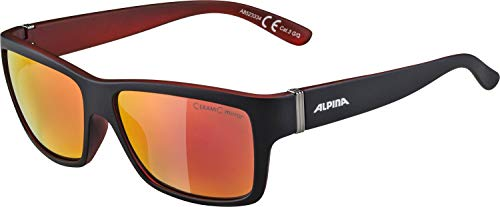 ALPINA KACEY Sportbrille, Unisex– Erwachsene, black matt-red, one size