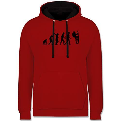 Shirtracer Evolution - Klettern Evolution - M - Rot/Schwarz - Darwin - JH003 - Hoodie zweifarbig und Kapuzenpullover für Herren und Damen
