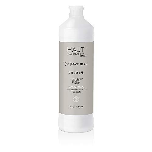 HAKA Flüssigseife I 1 Liter Nachfüllpack I Creme Seife Mild und Hautschonend I Starke Reinigungskraft für empfindliche & trockene Haut I Pflegende Handseife