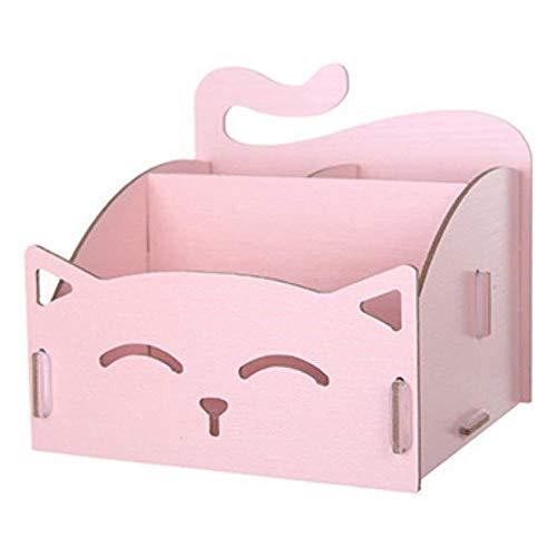 ADSE 2pcs Cute Cat Hollow Shape DIY Holz Schreibtisch Aufbewahrungsbox Office Pen Schmuck Cred Desk Organizer, Rot