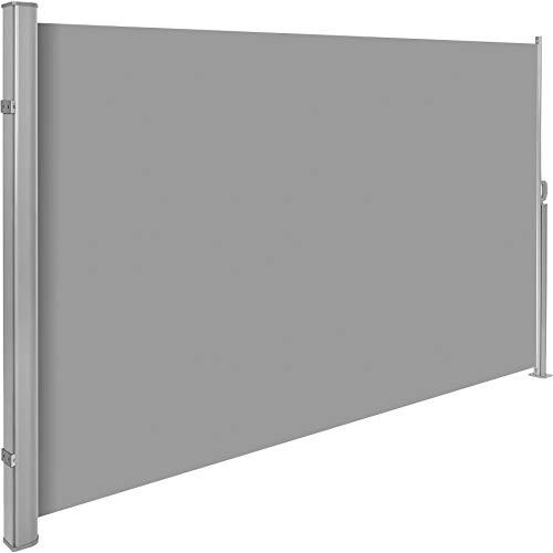 TecTake Seitenmarkise Sonnenschutz Sichtschutz Windschutz | Gehäuse und Standpfosten komplett aus Aluminium | - Diverse Farben und Größen - (Grau | 160x300cm | Nr. 401524)