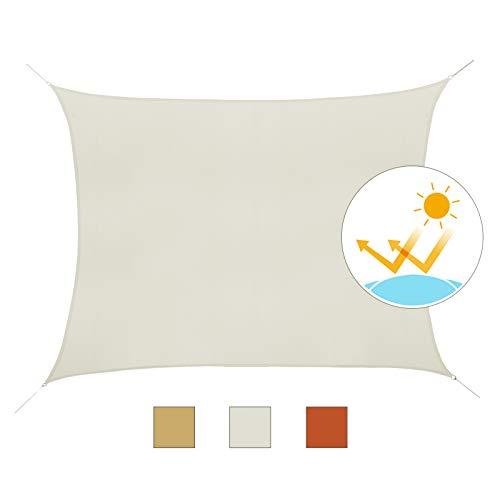 Outsunny Toldo Vela Rectángulo 4x6m Vela de Sombra para Terraza Jardín Camping Resistente al Agua Protección UV Poliéster Color Crema