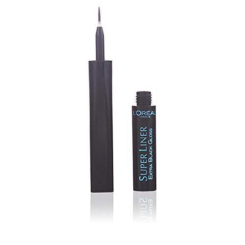 L'Oréal Paris Super Liner, Carbon Gloss Extra Black - ultra-präziser Flüssig-Eyeliner mit spezieller Auftragefeder - für einen perfekten glossy Lidstrich, der den ganzen Tag hält, 1er Pack (1 x 2 ml)