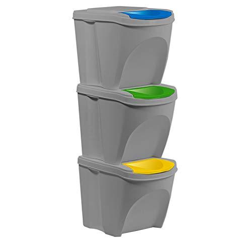 Kunststoff Mülltrennsystem Mülleimer Mülltrenner Abfalltrenner 3-fach 3x25 L stapelbar Steingrau Glas Papier Plastik