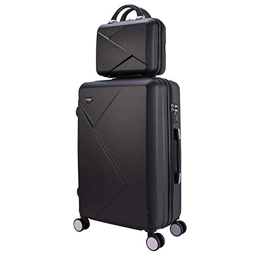 N\C Suitcase 4 Universal Wheels Trolley Case, Lightweight ABS+PC Carry-on Luggage + Cosmetic Case, Travel Case