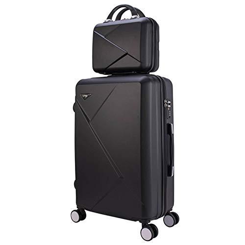 N\C Maleta con 4 ruedas universal, peso ligero ABS+PC equipaje de mano + estuche cosmético, estuche de viaje