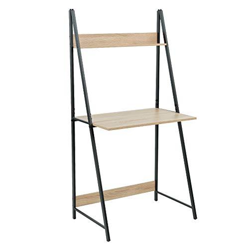 C-Hopetree Leiter Schreibtisch Student Computer Laptop Schreibtisch Bürotisch Industrielle Holzoptik Rustikal Schwarz Metallrahmen Ladder Desk mehrfarbig