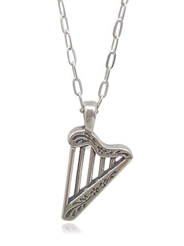 Sterling Silver Celtic Harp Irish Musical Instrument 3D Charm Necklace, 18'