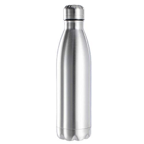 siqiwl Botella de agua aislada de 1000 ml, botella de agua de acero inoxidable de una sola pared de agua fría caliente botella de cola con aislamiento para niños Escuela 750 ml