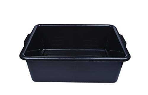 Black Plastic Bus Tub - Deep, Easy Grip - 22' x 15 3/4' x 7' - 1ct Box - RW Clean - Restaurantware