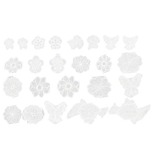 VALICLUD 24 Piezas Apliques de Flores Blancas Bordado de Costura Parches Florales Ropa Ropa Apliques de Encaje Pegatinas Parches de Costura Diy para Bolso Sombrero Jeans