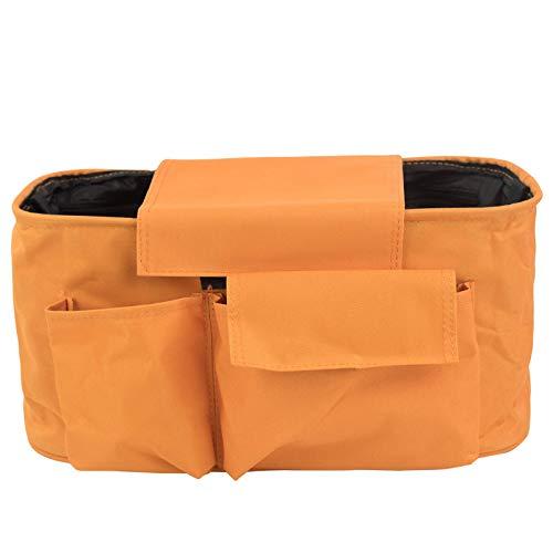 Organiseur universel pour poussette de bébé - Réglable - Sac à bandoulière - Sac à langer à suspendre - Porte-biberon avec sangles à boucle - Orange
