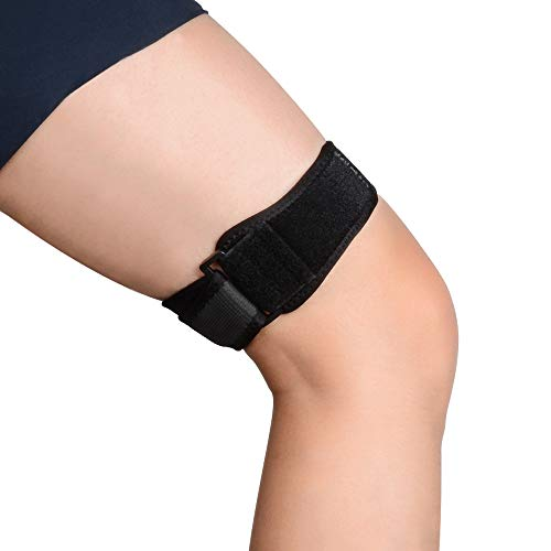 SupreGear Patella Kniebandage, ITB Bandage für Knie, Verstellbar Knee Strap Support, Bequem, Iliotibial, Atmungsaktiv, ITB-Kniebandage für Ilotibiales Band-Syndrom - Schwarz