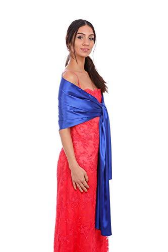 S DAL 1982 SARA SABELLA ISOLA D'ISCHIA Chal de fiesta para Mujer. Elegante echarpe para bodas y eventos que combina con todo tipo de vestidos. Pañuelo de satén Azul.