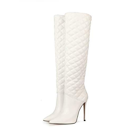 Botas Altas para Mujer, Tacones Puntiagudos Sexis De Moda, Botas De Tacón De Gran Tamaño, Zapatos De Trabajo para Fiestas, Altura del Tacón 12Cm,Blanco,EU35