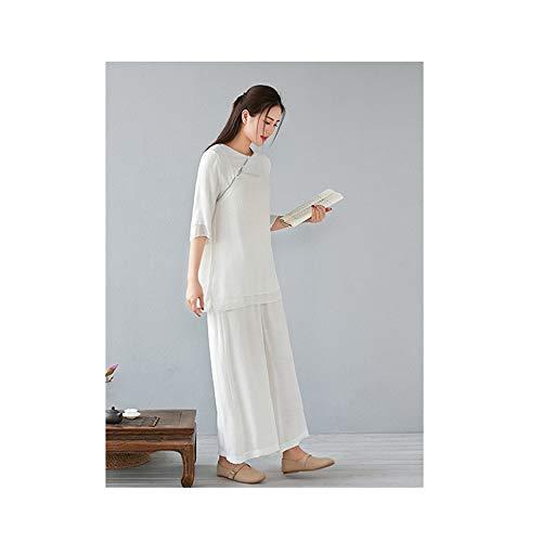 FHKL Damen Zen Meditation Anzug Tai Chi Uniform Chinesisch Kung Fu Kleidung Baumwolle Und Leinen Yoga Anzug,WhiteThree-quarterSleeveSuit-M