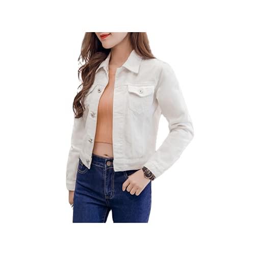 Top negro blanco delgado del invierno de la manga larga de los pantalones vaqueros para la chaqueta sólida del dril