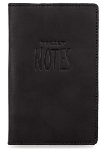LEABAGS Pocket Notes Leder Sleeve Lederhülle für Notizbücher 9x14 cm - Schwarz