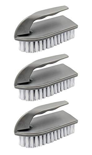 3 cepillos de plástico para limpieza de suelos, herramientas de mano con cerdas de nailon rígidas, removedor de cal y lechada, productos de limpieza ergonómicos y resistentes para uso