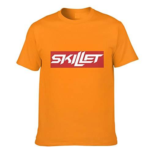 Ynjgqeo Sick-of-It Skillet Band Men's Short Sleeve T-Shirt Front and Back Orange 3XL