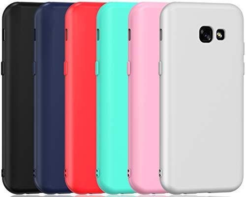 ivoler 6 x Funda para Samsung Galaxy A5 2017, Ultra Fina Carcasa Silicona TPU de Alta Resistencia y Flexibilidad (Negro, Azul Oscuro, Rojo,Verde, Rosa, Blanco)