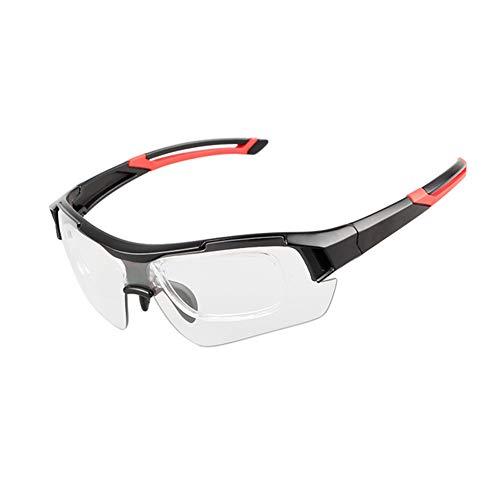 YINAIER Gafas De Bicicleta, Gafas De Ciclismo Transparentes sobre Gafas, Gafas De Ciclismo Fotocromáticas Decoloración Automática Gafas De Sol para Deportes Al Aire Libre (Negro Rojo)