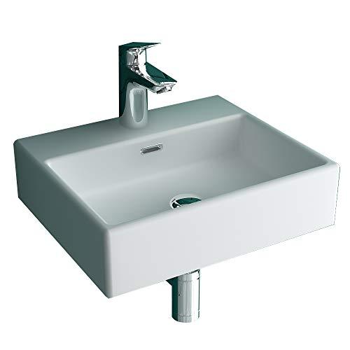 Alpenberger Einzelwaschtisch mit Überlaufschutz 43 cm Breite aus hochwertiger Keramik | Einfache Reinigung durch schmutzabweisende Oberfläche | Waschplatz Elegante&Platzsparende Einrichtungslösung